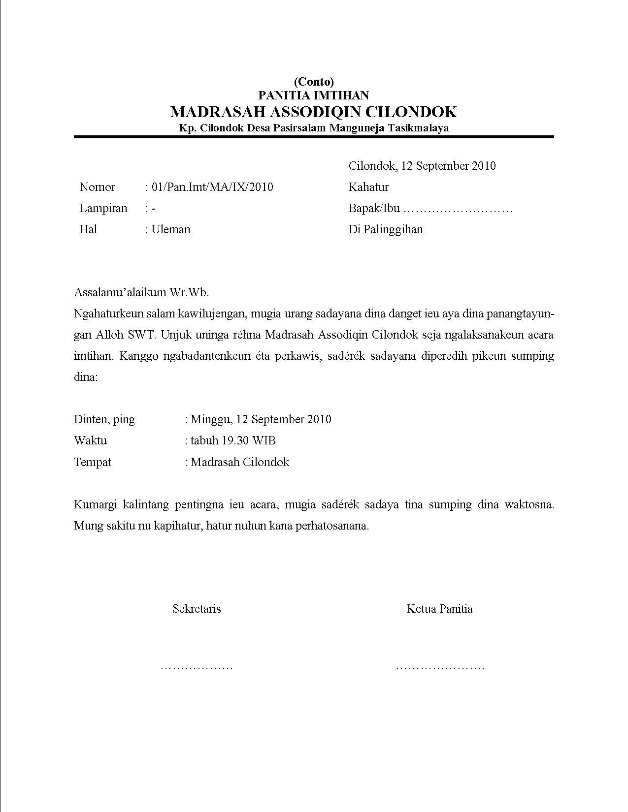 Conto Notula Rapat Jeung Surat Uleman Adejuve